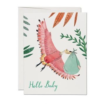 RED CAP CARDS BIRD WITH BABY CARD