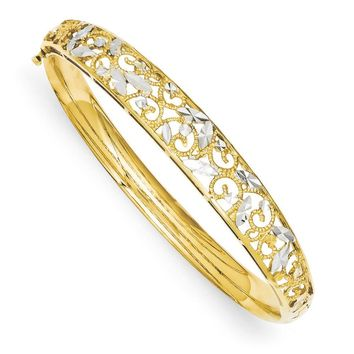 14k Yellow Gold & White Rhodium Graduated Diamond Cut Bangle Bracelet