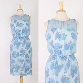 50s BLUE Floral Silk Chiffon WIGGLE DRESS / 1950s Sheer Overlay Sleeveless Cocktail Dress S