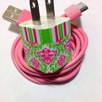 Customized cute damask and stripe Phone charger with personnel look in USB colors of your choice.