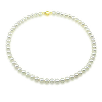 """14k Yellow Gold Clasp 7.0-7.5mm White Akoya Cultured Pearl High Luster Necklace 18"""", AAA Quality"""