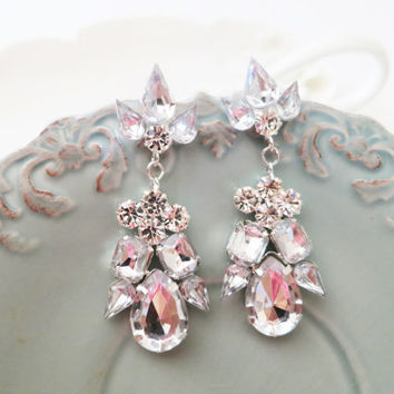 Wedding Rhinestone Earrings Bridal Dangle Vintage Style Crystal Stud