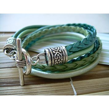 Womens Green Leather Bracelet, Five Strand, Double Wrap, Metallic Teal and Turquoise, Womens Jewelry, Womens Bracelet, Wrap Bracelet,For Her