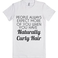 naturally curly hair-Female White T-Shirt