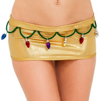 Sexy Christmas Lights Metallic Scrunch Back Skirt