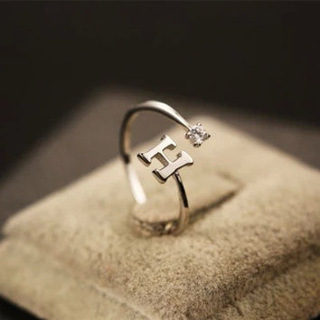 Jewelry New Arrival Shiny Gift Stylish 925 Silver Simple Design Alphabet Diamonds Accessory Ring [8380581447]