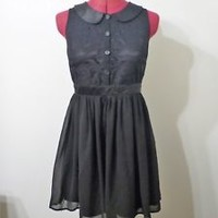 FOREVER 21 black peter pan collar dress chiffon laced size S/P