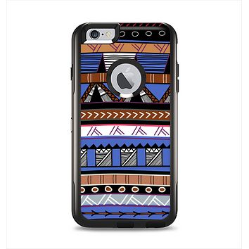 The Abstract Blue and Brown Shaped Aztec Apple iPhone 6 Plus Otterbox Commuter Case Skin Set