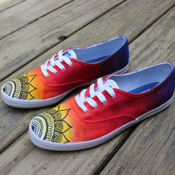 Vans/ Keds - Henna/ Mehndi Sunset Design + Custom Hand Painted