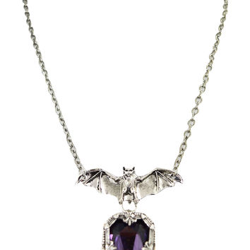 Gothic Vampire Night Whisper Bat and Purple Chunky Gemstone Pendant Necklace