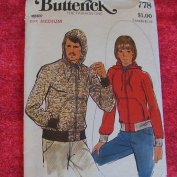 Sale 1970's Butterick Sewing Pattern, 3778! Size medium, Unisex, Mens, Teens, Misses, Women's, Jacket, Coat