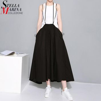 Summer Women Black Long Maxi Skirt Elastic Waist Pleated Infinite Skirt Convertible Girls Loose Casual Suspender Skirt 1388