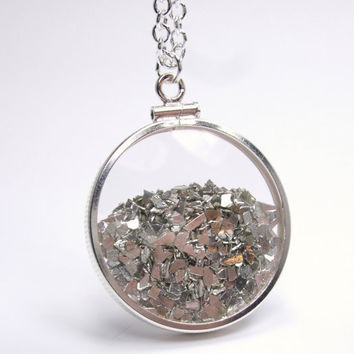 Shake Locket Glass Double Sided Sterling Silver Shards Slivers Filled Necklace - Shake It Collection