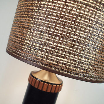 Vintage Mid Century Danish Modern lamp, LARGE table lamp with Original Double shade wicker mesh outer shade, fiberglass inner shade