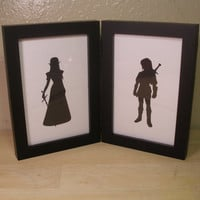 Link and Zelda The Legend of Zelda 4x6 sweetheart couple Framed Sets  Hand cut black silhouette papercut