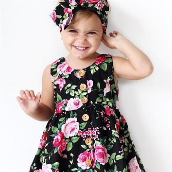 Cute Toddler Kids Baby Girl Dress vintage dress Floral Party Dresses Sundress Headband Outfits