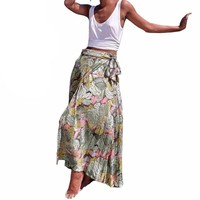 Bohemian Floral Print Summer Maxi Skirt Vintage High Waist Beach Skirts