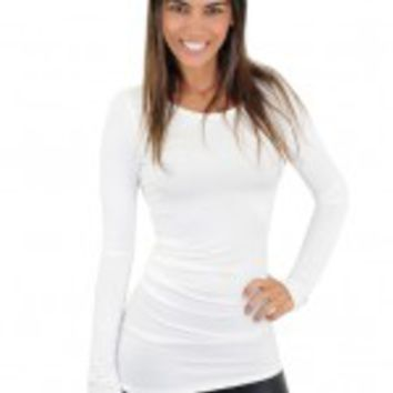 Solid White Ruched Top