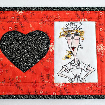 Valentine Mug Rug, Nurse Mug Rug, Quilted Red Black Mug Rug, Medical Snack Mat, Gift for Nurse, Quiltsy Handmade