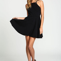 BLACK X BACK FLARE KNIT DRESS