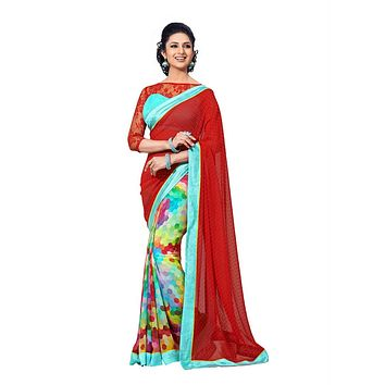 Vibrant Red and Teal Colored Exclusive Designer Chiffon Saree D-103