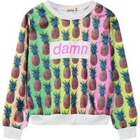 Women's Graphic Sweatshirt 2015 winter new allover pineapple print pullovers for woman ladies lightweight casual short crop tops
