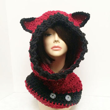 RESERVED for RAGGEDY SHANN - Fox, Hood, Cowl, Hat - Burgundy and Black
