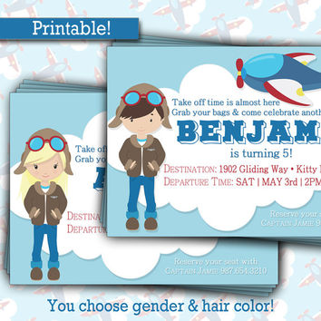 Time to Take Off Birthday Invitation | Airplane Pilot | BOY or GIRL | Plane Clouds Party | DIY Printable