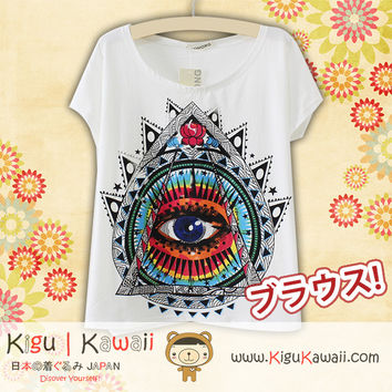 New Eye on Triangle Fashionable Loose and High Quality Spring and Summer Tshirt Free Size KK525