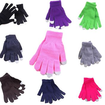 1 Pair Women/Men Top Sell Touch Screen Gloves Fashion Wrist Casual Gloves Tablet Warm Knit Winter Mitten For Smart Phone