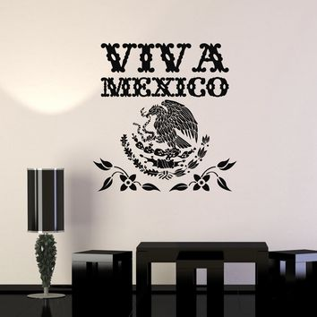 Vinyl Wall Decal Viva Mexico Mexican Eagle Symbol Art Decor Stickers Mural Unique Gift (ig5202)