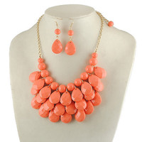 teardrop necklace with earrings in coral orange, J Crew Inspired Necklace, bubble bib Necklace, kate spade necklace
