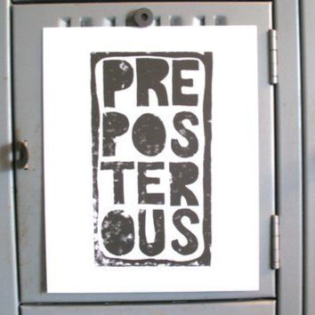 PRINT Preposterous BLACK LINOCUT 8x10 by thebigharumph on Etsy