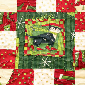Christmas Hip Kitty Quilted Throw, Red + Green Quilted Naughty Cats, Gift or Christmas Decor, Holiday Bed Topper, Quiltsy Handmade, CIJ
