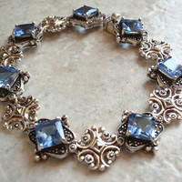 Marcasite Bracelet Synthetic Blue Spinel Princess Cut Sterling Silver Vintage 130522