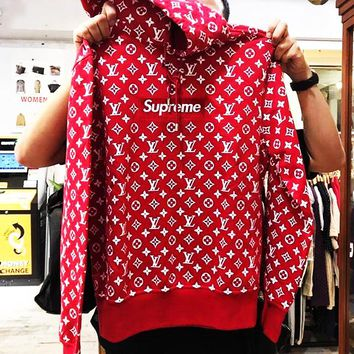 Louis vuitton SUPREME hot seller of fashionable hoodies for men and women with printed long-sleeved tops