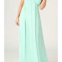 Mint Strapless Maxi Dress with Gathered Sweetheart Top