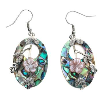 SHIPS FROM USA Abalone shell flower drop dangle earrings fashion jewelry mothers day gifts for women mom her wife H018