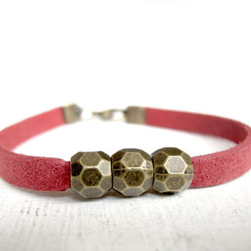 valentines red red teenage gifts three bead bracelet bohemian red boho red bracelet modern valentines ethnic jewelry Synthetic Leather