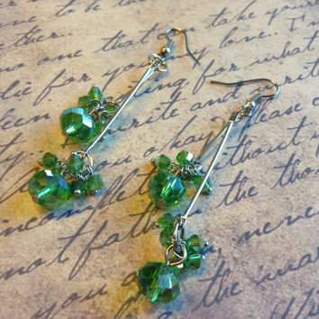 "Handmade Swingy Light Green & Silver Faceted Czech Crystal Rondelle and Bicone Beads 3-1/4"" (80mm) Long Double Dangle Earrings #CHEP0001-BL"