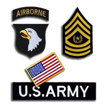 4pcs/set Outdoor 101 AIRBORNE U.S. ARMY American Flag Patches Tactical Embroidery Cloth Epaulette Armband Badge