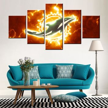 Miami Dolphins Sport Posters and Prints Canvas Pictures for Living Room Wall Decor 5 Pieces  Cuadros Decoration Salon 1708