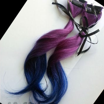 "12"" Galaxy Kiss 100% human hair extensions Ombre Dip Dye Purple Blue Clip In"