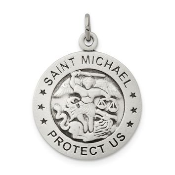 925 Sterling Silver Antiqued Saint Michael Navy Medal