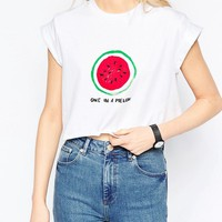 ASOS Cropped T-Shirt With One In A Melon Print at asos.com