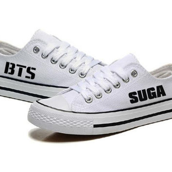 Unisex Womens BTS White Canvas Shoes KPOP Flat Heel Lace Up Shoes All Members Letters Printed Shoes Luminious Free Shipping