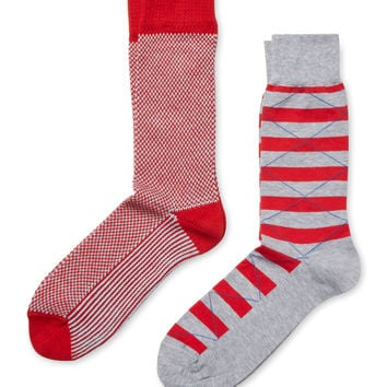 J.M. Dickens Men's Intarsia and Stripe Socks (2 PK)