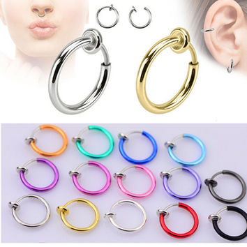 Colorful Faux Hoop Nose Ring Goth Punk Lip Ear Clip Cuff Earring Fake Septum Piercing Septo nez nariz Clicker Body Jewelry