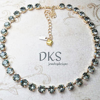 Black Diamond, Swarovski Crystal Necklace, 8mm, Bridal, Adjustable, Sparkle, Jewelry Gifts, DKSJewelrydesigns, FREE SHIPPING