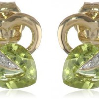 10k Gold Gemstone and Diamond Heart Earrings (1/12 cttw, I-J Color, I2-3 Clarity)